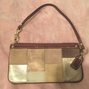 Coach gold brown tan wristlet patchwork wallet